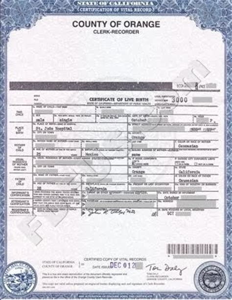 Oc Records Orange County Birth Certificate California Get Vital