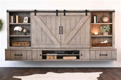 barn door tv cabinet console diy projects wall mounted floating tv stands