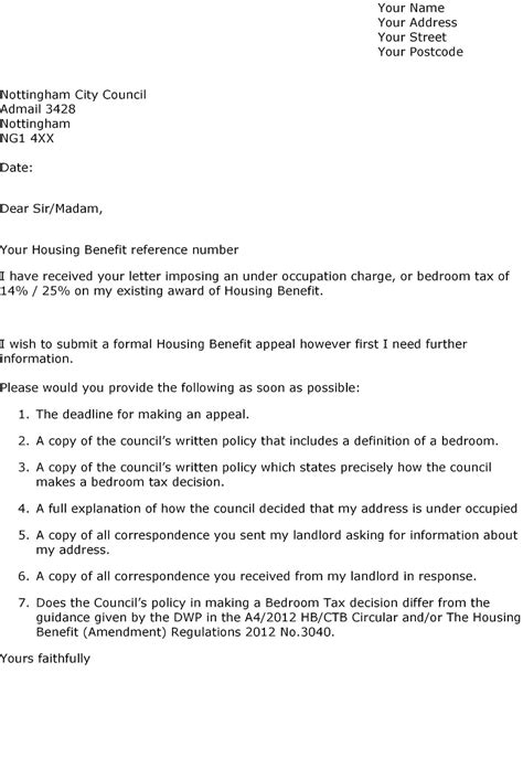 Benefit Appeal Letter Template Defend Council Tax Benefits Letter To Council Challenging Reduction Of Housing Benefits