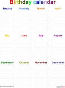 birthday calendars 7 free printable word templates images