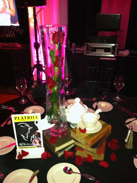 Beauty and the Beast Centerpiece www.theeventscompany.com   Broadway Themed Bat Mitzvah
