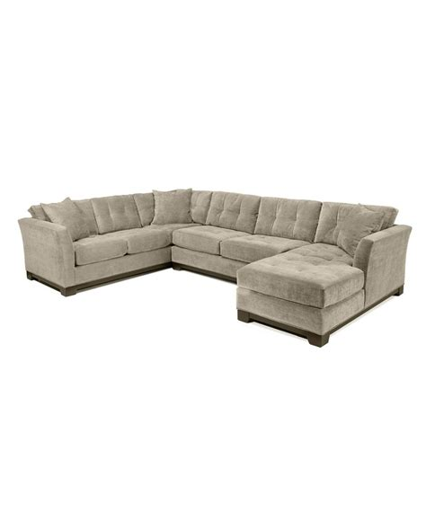 Elliot Fabric Microfiber 3 Piece Chaise Sectional Sofa Grey Microfiber Sectional Sofa