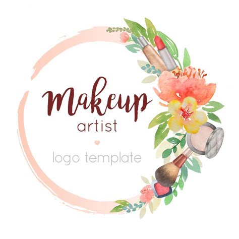 Makeup Artist Watercolor Logo Template With Flower Decor Vector Premium Download Watercolor Logo Template