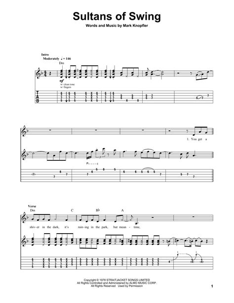 Sultans Of Swing Sheet Music By Dire Straits Guitar Tab