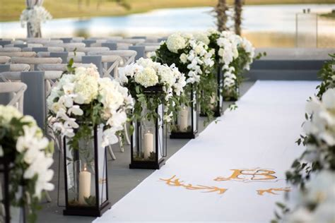 Wedding Aisle Decorations With Lanterns by Tented Ceremony Barn Reception At Ranch In