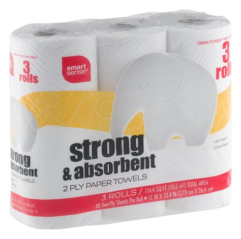 What Makes Paper Towel Absorbent - smart sense strong absorbent 2 ply paper towels 3 ct