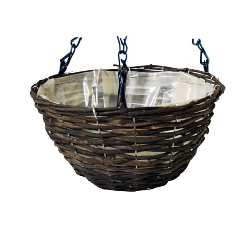 rattan hanging basket planter 35cm 163 3 45