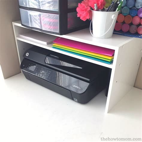 desk with printer shelf organization hack diy desktop printer shelf from a shoe