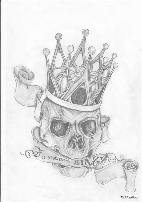 skull with crown tattoo designs grey ink crown skull design