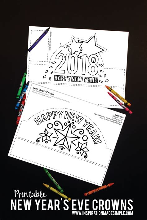 printable new year s crown printable new year s eve crown inspiration made simple