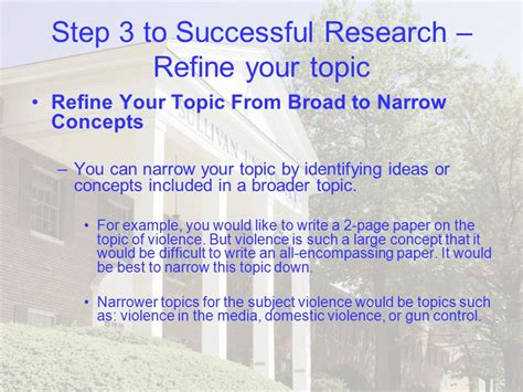 narrow topics for research papers lesson six research basics ppt