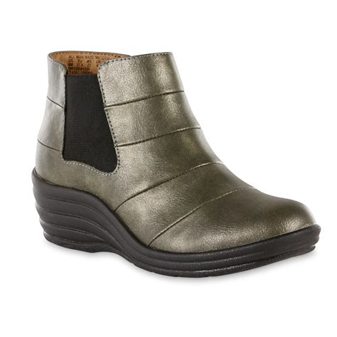 comfortable wedge booties i love comfort women s fiona gray wedge bootie shop your