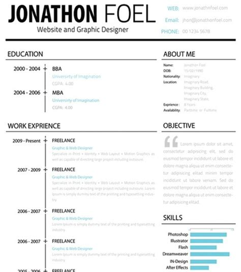 Simple One Page Resume Sample by 20 Best Free Resume Templates