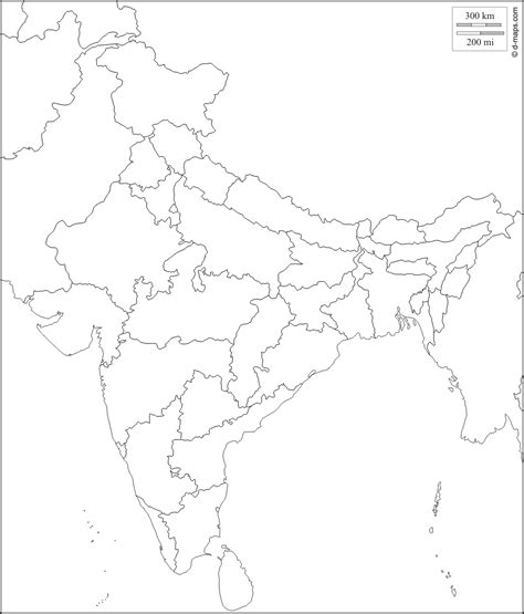 political outline map india blank political map
