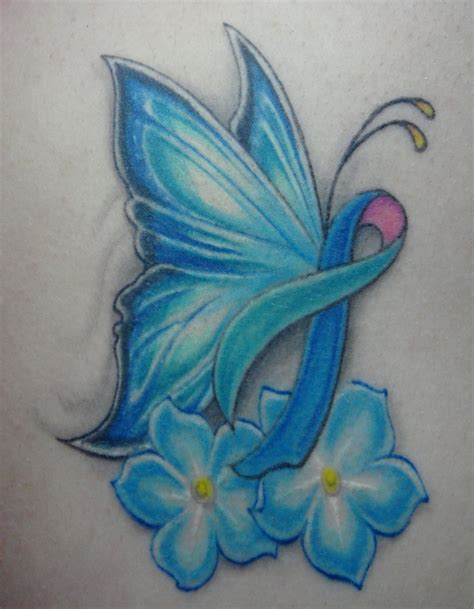 butterfly cancer ribbon tattoos thyroid cancer awareness for my might be