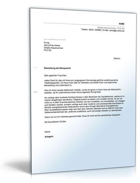 Bewerbung Ms Deutschland Anschreiben Bewerbung Klempner In De Bewerbung