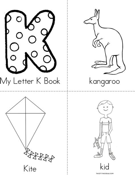 Printable Letters Books | my letter k book twisty noodle
