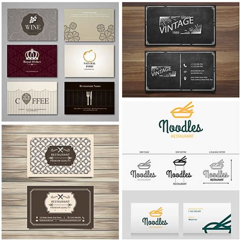 restaurant business cards templates free retro restaurant card set vector free