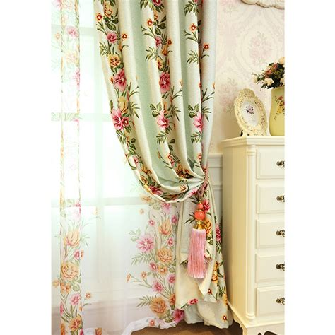 sage green floral print polyester beautiful shabby chic curtains