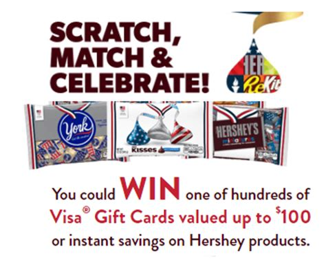 Instant Visa Gift Card - hershey s 10 visa gift card instant win giveaway 500 winners 2 first prize 50