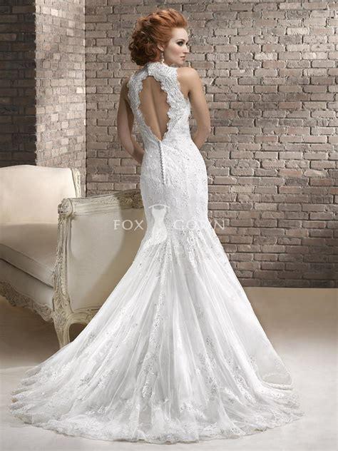 A Line Lace Wedding Dress With Keyhole Back   Wedding