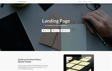 Landing Page Template Bootstrap start bootstrap bootstrap portfolio templates and themes