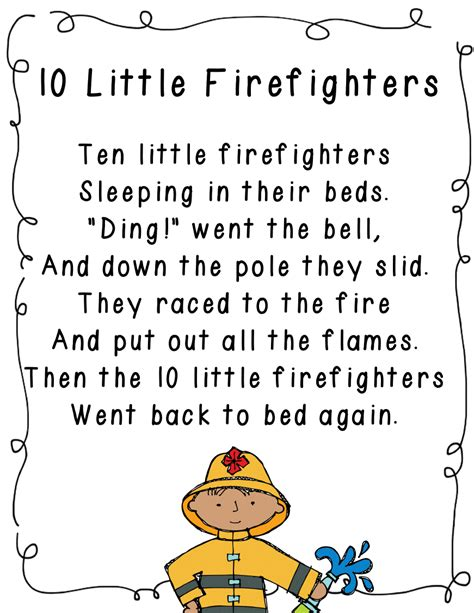 themes for ela units 10 little firefighters poem for community helpers unit