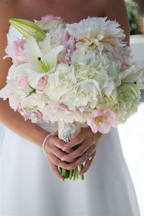 white hydrangea white casablanca lily blush dahlia