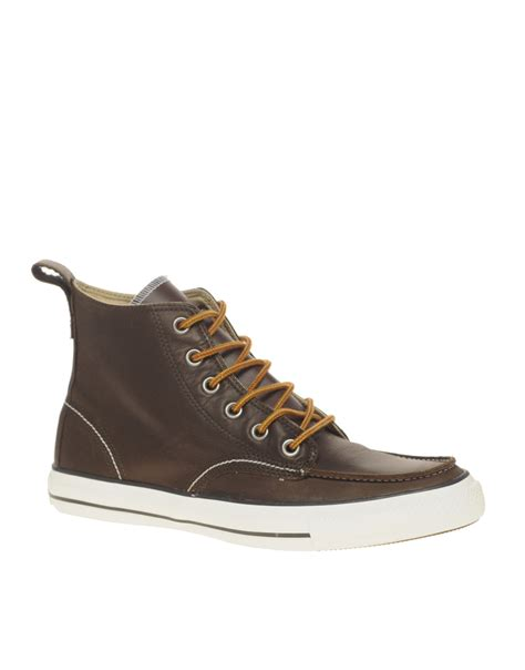 converse boots converse all leather mid boots in brown for lyst