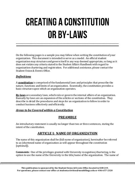 church bylaws template constitution and bylaws template templates resume