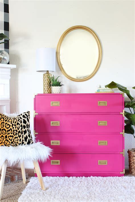 amazing pink caign dresser makeover clutter