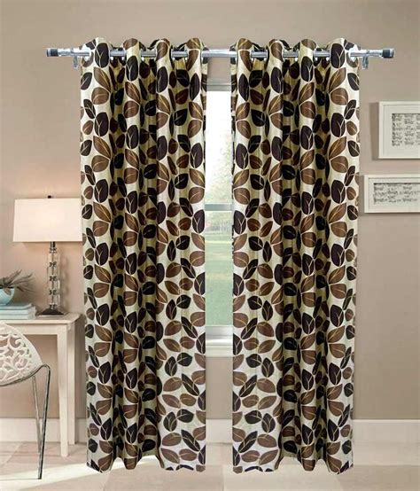 brown leaf curtains handloom villa brown leaf design eyelet door curtain set