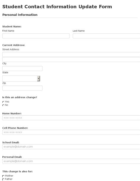 Update Contact Information Form Template by Business Form Template Gallery