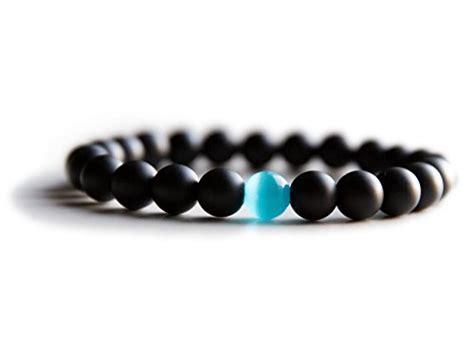 cool bead bracelets mens bracelet matte black onyx water drop cat eye