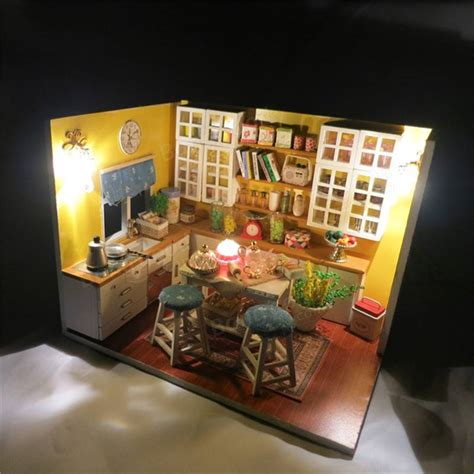 wooden doll houses kits diy wooden doll houses miniature kits assembled light living room gifts with cover