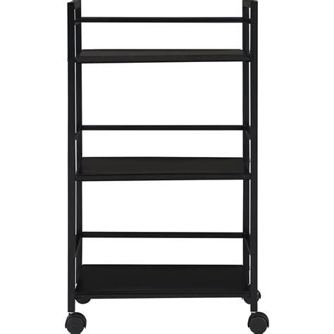 Three Shelf Rolling Cart by 3 Shelf Metal Rolling Utility Cart In Black 7741196pcom