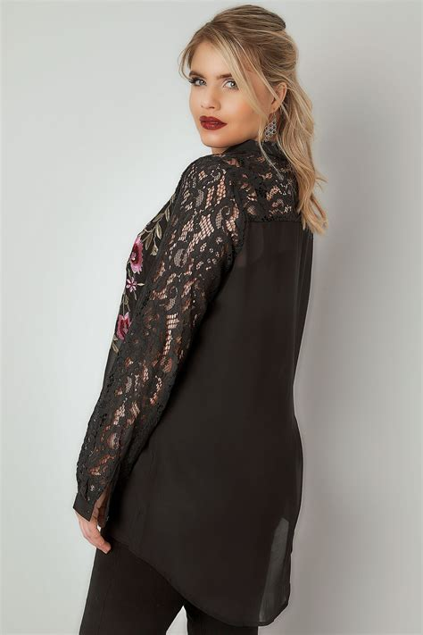 Modell S Gift Card Balance Check - yours london black floral embroidered shirt with lace sleeves plus size 16 to 32