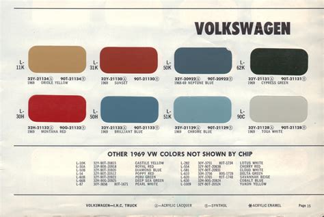 paint chips 1969 volkswagen