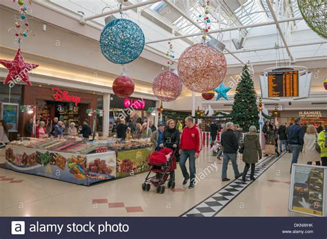christmas decorations and shoppers within the bridges