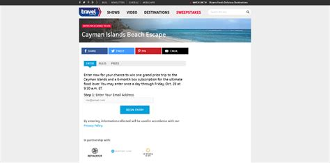 Travel Com Sweepstakes - travel channel sweepstakes 2016 win a cayman islands beach escape