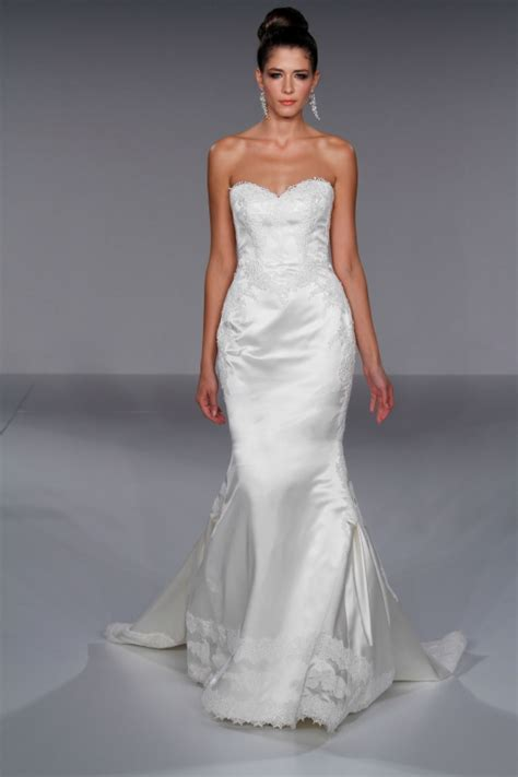 White satin fitted mermaid wedding dress with romantic