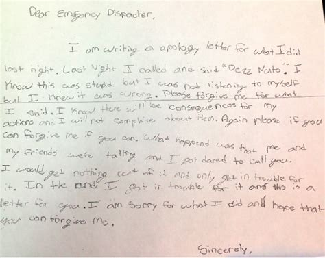 Apology Letter To Officer Sixth Grader Writes Apology Letter To For Calling 911 And Saying Deez Nuts The