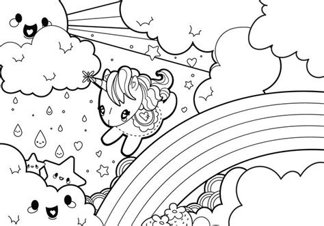 unicorn with rainbow coloring page rainy rainbow unicorn scene coloring page download free