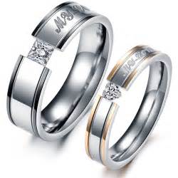 Anniversary Engraving Titanium Steel Couple Promise Ring Wedding Bands Matching Set Yoyoon 10301