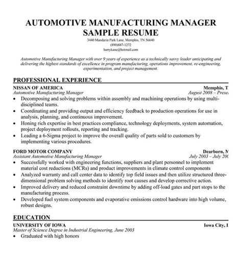 automotive resume objective 1000 images about riez sle resumes on