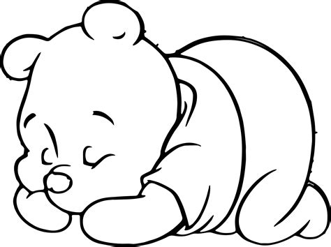 sleeping coloring page sleeping baby pooh coloring page wecoloringpage