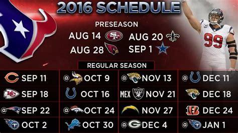 texans 2016 schedule includes five primetime matchups