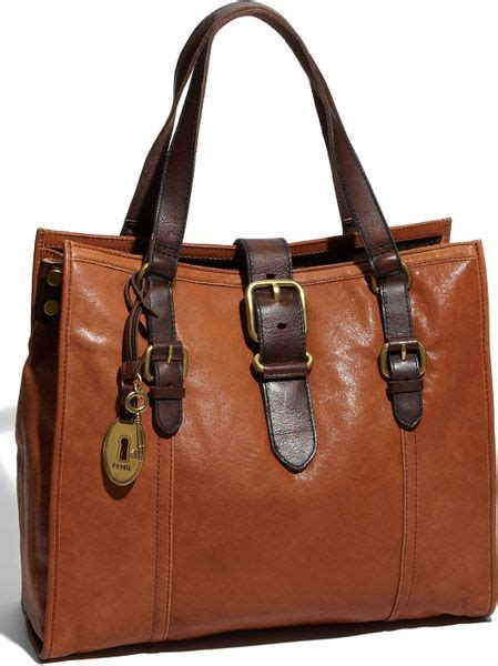 Tas Fossil Tote Bag Pouch fossil vintage emory tote in brown saddle lyst