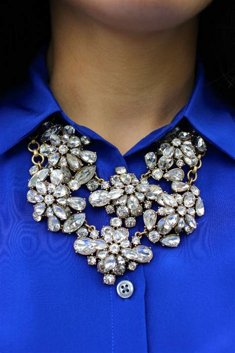 cobalt blue sparkly statement necklace it s all in the