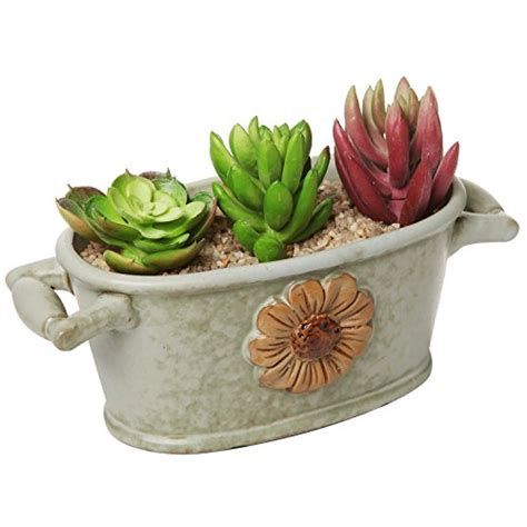 country rustic green ceramic trough style flower